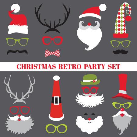 Festa de Natal retro set - óculos, chapéus, lábios, bigodes, máscaras Ilustração
