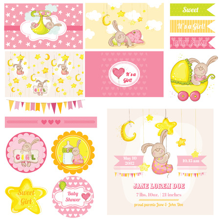 baby shower girl: Scrapbook Design Elements - Baby Shower Bunny Theme - in vector Illustration