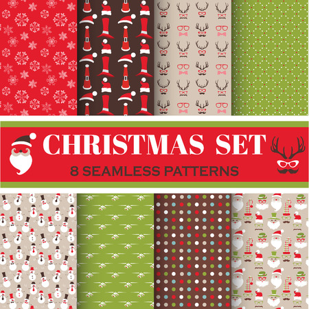 Christmas Retro Set - 8 seamless patterns - for design, photo booth in vector Vector