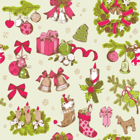 Seamless Christmas Pattern - hand drawn background - for design and scrapbook - in vector Ilustrace