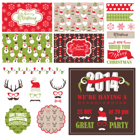Christmas Retro Party Set - cards, ribbons, labels, party masks - in vector Vector