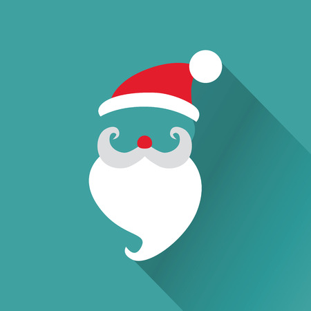 wearing santa hat: Christmas Retro Santa Card - in vector Illustration