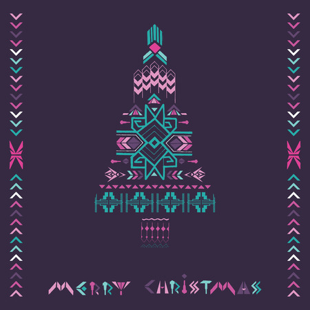 Christmas Tree - Tribal Vintage Aztec Theme - hand drawn in vector Vector