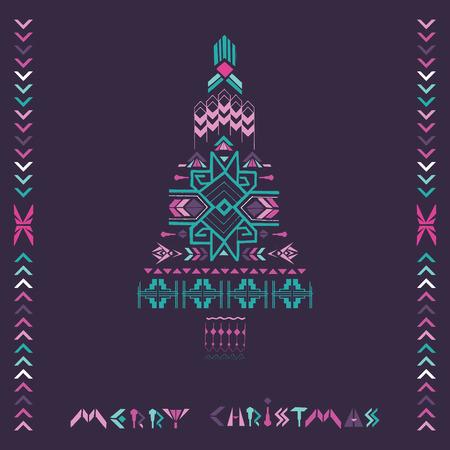 Christmas Tree - Tribal Vintage Aztec Theme - hand drawn in vector Ilustracja