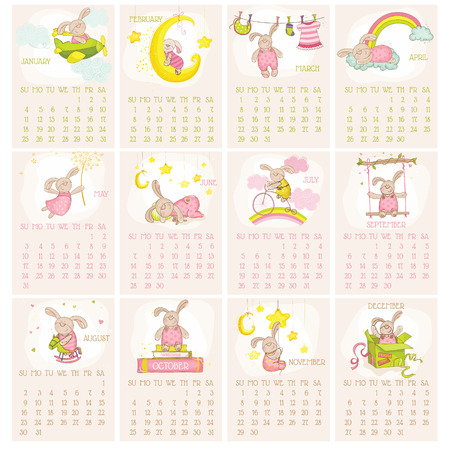 Baby Bunny Calendar 2015 - week starts with Sunday - in vector Illustration