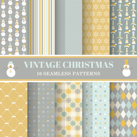Christmas Retro Set - 10 seamless patterns - for design, photo booth in vector Vector