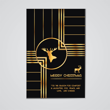 Christmas Invitation Card - Art Deco Style - Typography and Calligraphic Design  Vector