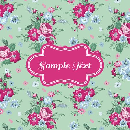 scrapbook background: Retro Flower Card - for invitation, congratulation, scrapbook