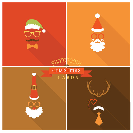 Christmas Retro Party Card - Photo booth Style - in vector Vector