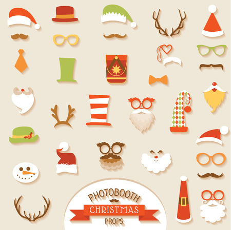 wear mask: Christmas Retro Party set - Glasses, hats, lips, mustaches, masks - for design, photo booth in vector