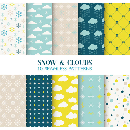 vintage wallpaper: 10 Seamless Patterns - Snow and Clouds - Texture for wallpaper, background, texture, scrapbook - in vector