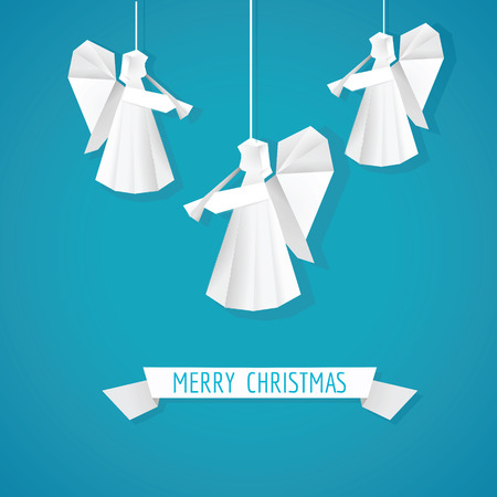 christmas angel: Origami Paper Angel - Christmas Background - in vector Illustration