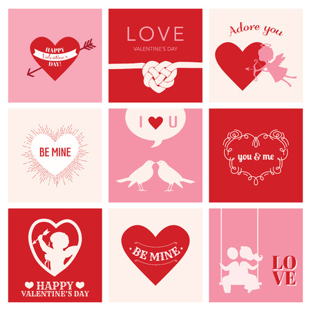 Set of Love Cards for Valentines Day - Hearts, Frames, Cupids - in vector Vector
