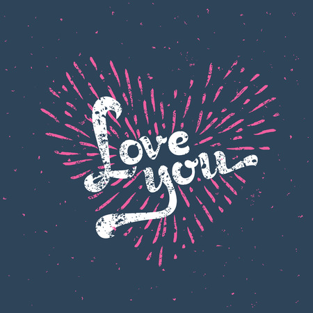 amor: Grunge Love Card - with sunbirst - in vector
