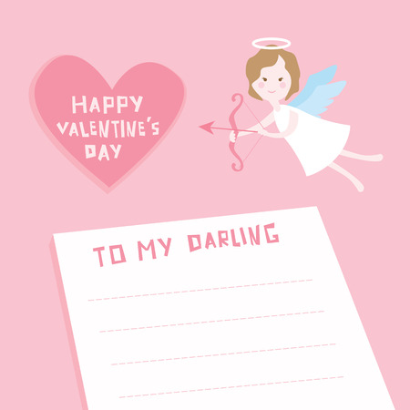 Valentines Day Card - Cupid Angel with Heart -with place for your text in vector Vector