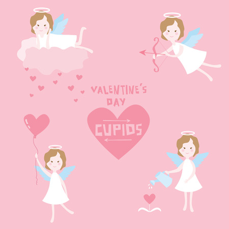 Valentines Day Set - Cupid Angels with Hearts - in vector Vector