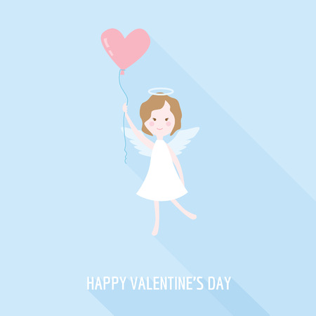 Valentines Day Card - Cupid Angel with Heart - in vector Vector