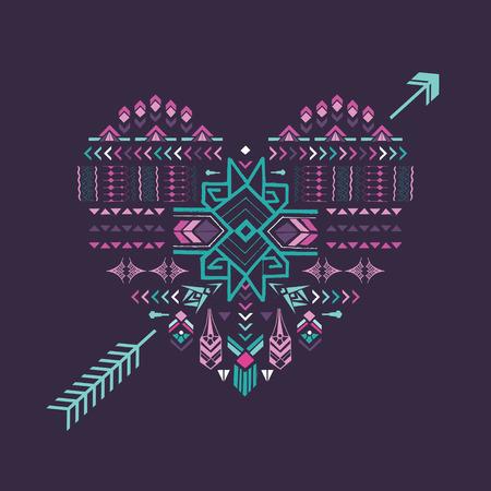 Tribal Heart - Vintage Aztec Background - hand drawn in vector Vector