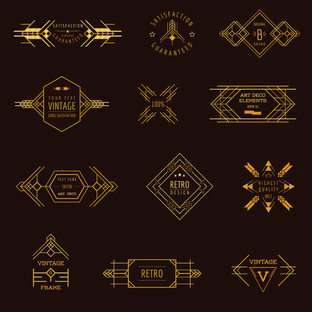 art deco background: Art Deco Vintage Frames and Design Elements - in vector Illustration