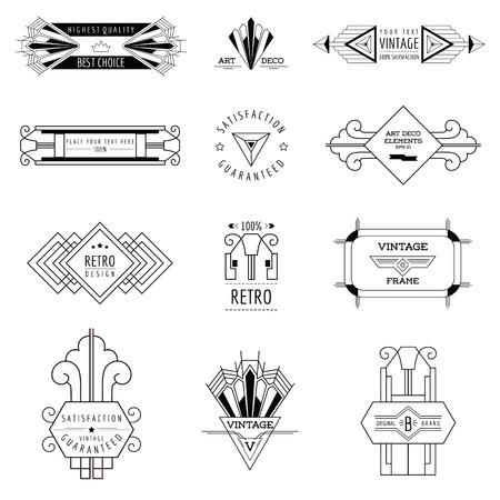 アールデコ ヴィンテージ フレームと設計要素 - ベクトル