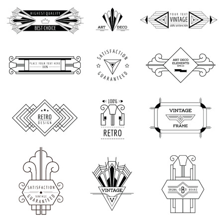 Art Deco Vintage keretek és design elemek - vektoros