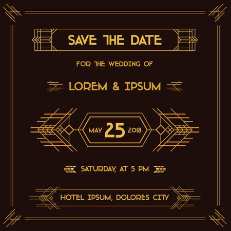 fondo para tarjetas: Ahorre la fecha - tarjeta de la invitaci�n de la boda - Art Deco Estilo Vintage - en el vector