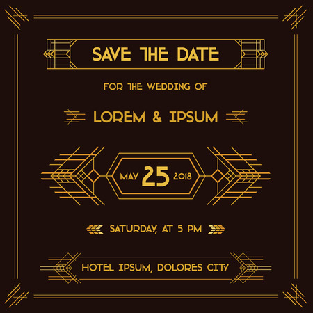 swirl background: Save the Date - Wedding Invitation Card - Art Deco Vintage Style - in vector