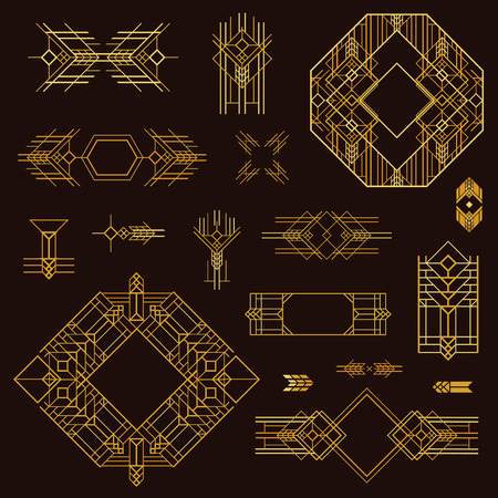 Art Deco Vintage Frames and Design Elements - hand drawn in vector  イラスト・ベクター素材