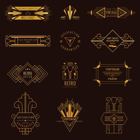 art deco frame: Art Deco Vintage Frames and Design Elements - in vector Illustration