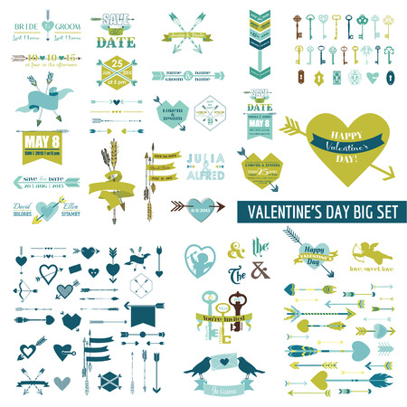 Enorme Valentijnsdag Set - meer dan 100 elementen - Hearts, Arrows, sleutels, Cupids, Etiketten - in vector