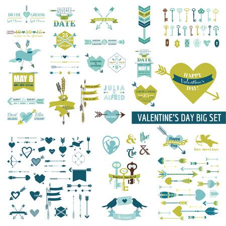 heart arrow: Huge Valentines Day Set - over 100 elements - Hearts, Arrows, Keys, Cupids, Labels - in vector Illustration