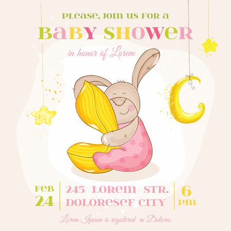 Baby Shower or Arrival Card - with Baby Bunny - in vector Vector