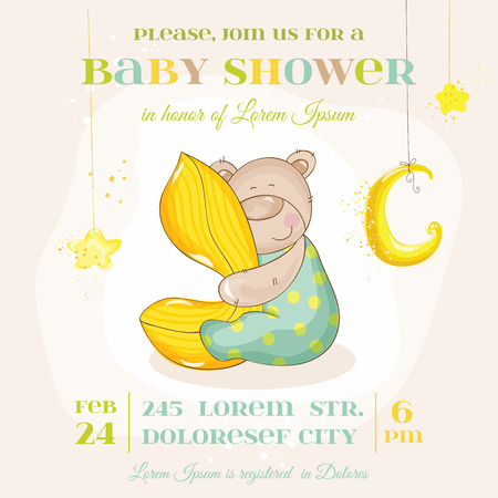 baby bear: Baby Shower or Arrival Card - with Baby Bear - in vector