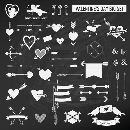 boarder: Valentines Day Set - on chalk boarder - Hearts, Arrows, Keys, Cupids, Labels - in vector