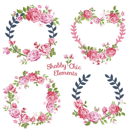 rose flowers: Flower Banners and Tags - for your design and scrapbook - in vector