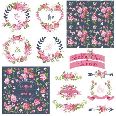 ビンテージ花セット - フレーム、ベクトルの背景 - デザインとスクラップ ブック - リボン
