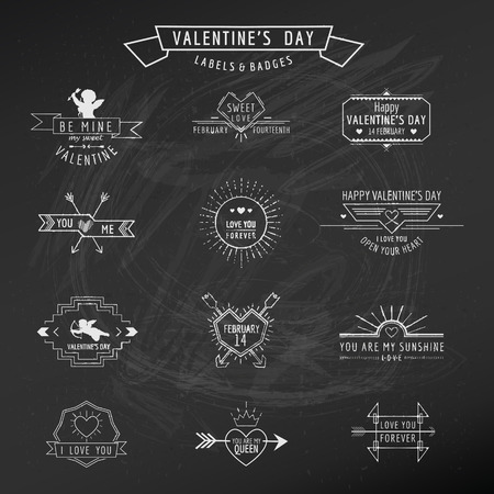 stationary set: Valentines Day - Set of Badges and Labels - in vector Illustration