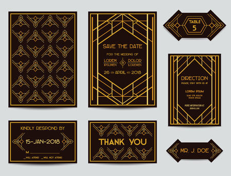 Set of Wedding Cards - Art Deco Vintage Style - in vector Vector