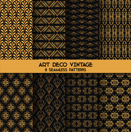 art deco frame: Art Deco Vintage Patterns - 8 Seanless Backgrounds - in vector