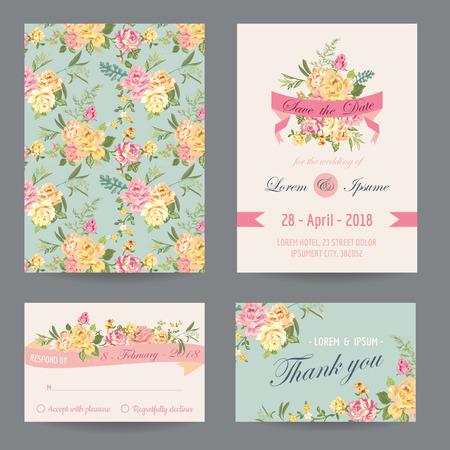 romantyczny: Zaproszenie  Gratulacje Card Set - do ślubu, Baby Shower - w wektorze