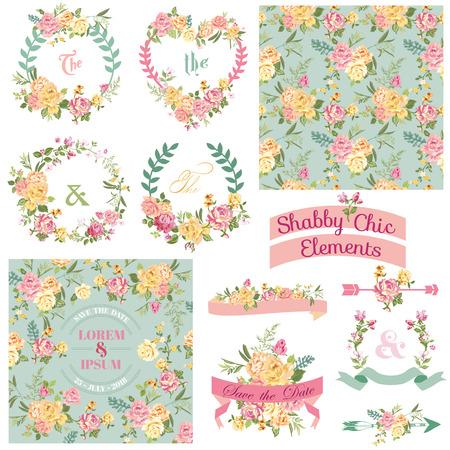 빈티지 꽃 세트 - 디자인과 스크랩북 - 프레임, 리본, 배경 일러스트