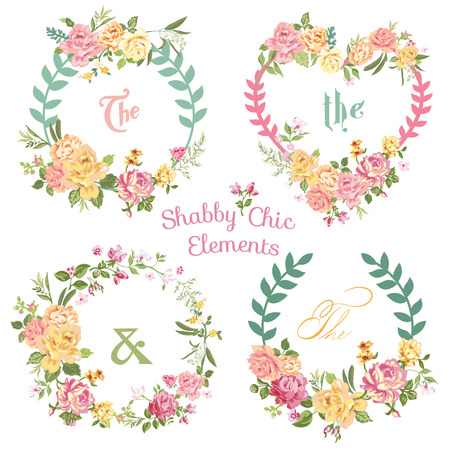 floral wreath: Flower Banners and Tags - for your design and scrapbook - in vector