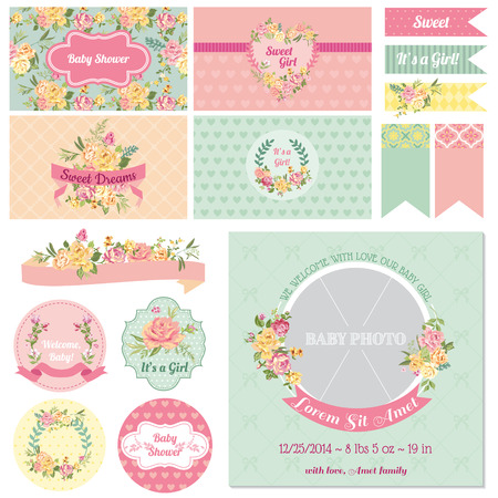 baby birth: Scrapbook Design Elements - Baby Shower Flower Theme - in vector