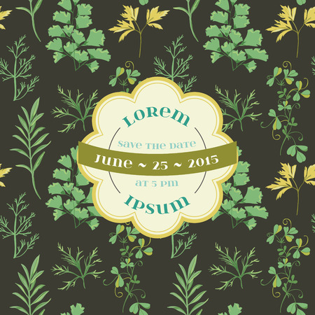 caligraphic: Wedding Vintage Invitation Card - Floral and Grass Theme - in vector Illustration