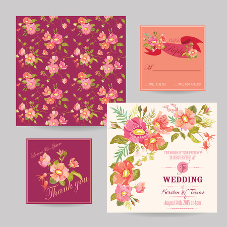Set of Wedding Floral Invitation Cards - Save the Date, RSVP, Thank you - in vector Vector