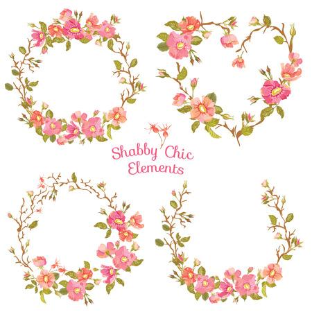 꽃 배너 및 태그 - 디자인 및 스크랩북 - 벡터 스톡 콘텐츠 - 36987329