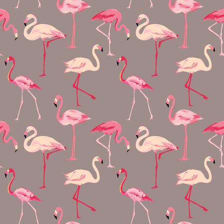 Фламинго птица Фон - Ретро бесшовные модели в векторе