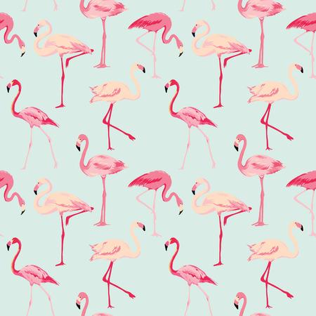 フラミンゴ鳥背景 - ベクトルのレトロなシームレス パターン  イラスト・ベクター素材