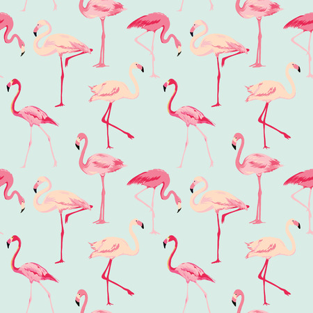 birds: Flamingo Bird Background - Retro seamless pattern in vector Illustration