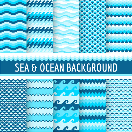 sea waves: 10 Seamless Patterns  Nautical Sea Theme  in vector